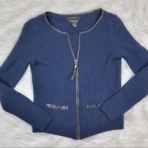 Tahari Navy Blue Wool Zip Up Sweater Leather Trim